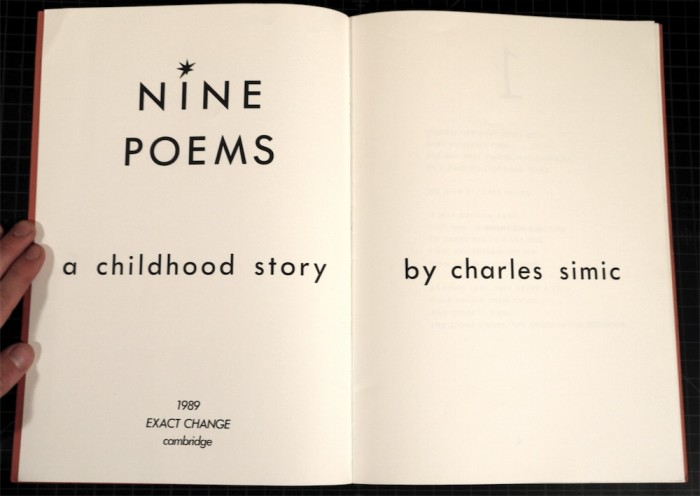 Charles Simic - Nine Poems: A Childhood Story